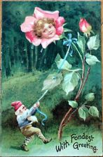 1910 Flower Face Postcard: Gnome & Rose w/Girl's Face - Embossed, Color Litho