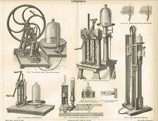 Tafel LUFTPUMPEN / VENTILE / VAKUUM 1888 Original-Holzstich