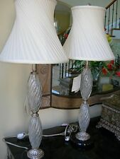 Maitland Smith Pair of Double Tiered Clear Glass Silverplate Table Lamps