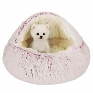 Winter 2 In 1 Cat Bed House Long Plush Dog Bed Donut Cave Cuddle Warm Sleeping