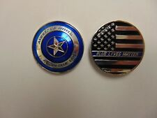 CHALLENGE COIN AMERICAS SHIELD BLUE LIVES MATTER THIN LINE POLICE OFFICERS PROTE