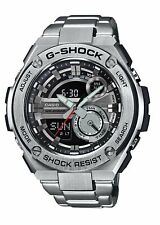 Casio G-Shock G-Steel WR 20Bar World Time Black Dial Silver Men Watch GST210D-1A