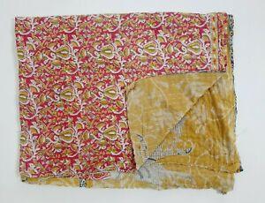 Indian Handmade Quilt Vintage Kantha Bedspread Throw Cotton Blanket Gudari Ralli