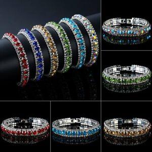 Fashion CZ Crystal Rhinestone Bling Zircon Cuff Bracelet Bangle Chain Women Gift