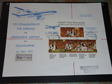 AUST 1970 COOK M/SHEET O/PRINTED MELBOURNE AIRPORT OPENING ON REG COVER