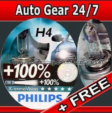 H4 Philips Xtreme Extreme Vision 100% Brighter Headlight Head Lamp Bulbs + FREE