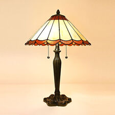 "Tiffany Style Scallop Table Lamp Handcrafted 16"" Shade"