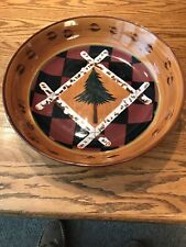 """ZRIKE Handpainted Large 12.5""""dia. Round Bowl S.Riggsbee White Outpost Pine Tree"""