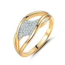 Twist Lines Ribbon Water Drop Diamond 18K Silver & Gold Filled Women Lady Rings