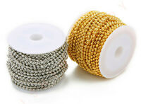 A Roll 2.4mm Gold Silver Metal Iron Bulk Ball Bead Chain Link Chains Findings