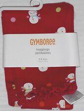 GYMBOREE Girl's Cozy Cutie Red Snowman Cotton Leggings Size 3-6 Months