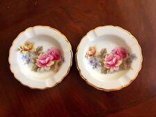 2 Vtg Limoges France Porcelaine Floral Roses Ash Trays Gold Trim Bright Ashtrays