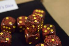 Speckled 16mm D6 RPG Chessex Dice (10 Dice)Mercury Speckled Red and Black Casino