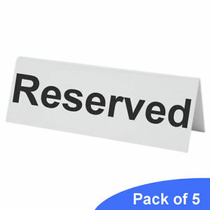 BarBits 5 Flexible Plastic Reserved Table Sign - Tabletop Restaurant Cafe Bar