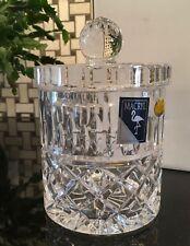 "Heavy Cut Crystal 7"" Lidded Biscuit Cookie Jar Macryl Poland 24% Lead Crystal"