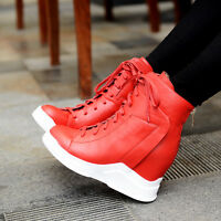 Women's Fashion High Top Ankle Wedge Heels Sneaker Boot Shoes Athletic Trainers