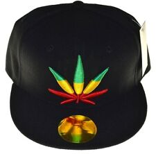 Ganja Marijuana Snapback Cap Hat-black rasta
