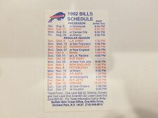 Buffalo Bills 1992 NFL Football Pocket Schedule - Marine Midland Bank