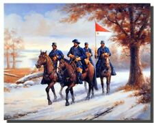 Civil War Blue Soldier on Horses Country Western Wall Decor Art Print (16x20)
