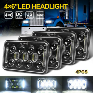 4x DOT 4x6'' Inch Led Headlights Hi-Lo Beam DRL For Chevrolet Oldsmobile Cutlass