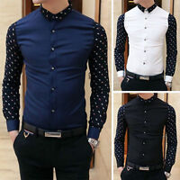 pro men Fashion Stylish Casual Slim Fit Smart Long Sleeve Korean Shirt Tee-Top#~