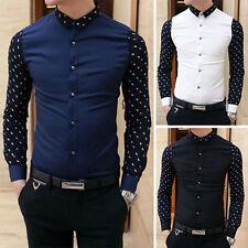 pro men Fashion Stylish Casual Slim Fit Smart Long Sleeve Korean Shirt Tee-Top#~