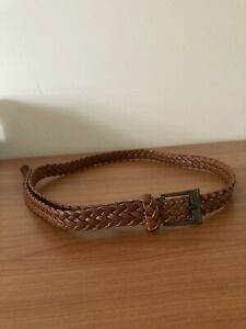LADIES BROWN PLAITED ONE SIZE BELT WITH BUCKLE