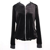 Harlow and Graham Black Velvet Bomber Jacket Size Small Womens Full Zip