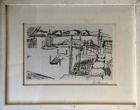 Radierung Adolf Silberberger 1922-2005 Ulm - Industrie Landschaft 33 x 42