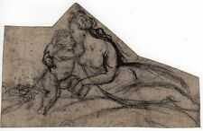 Antique Drawing-MOTHER-CHILD-MADONNA-MALE PORTRAIT-NUDE-Anonymous-c.1835