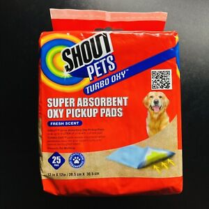 SHOUT PETS TURBO OXY Absorbent Pickup Pads Fresh Scent Urine Absorbing 25 Pads