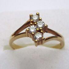 Bague plaqué or bijou vintage cristaux zircons diamant Taille 56