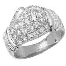 Cubic Zirconia Signet Sterling Silver Fine Rings