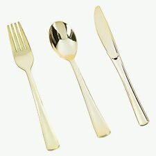 60 Assorted Gold Wedding Birthday Party Tableware Plastic Cutlery Set-FREE SHIP!