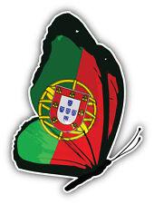 Portugal Flag Butterfly Car Bumper Sticker Decal 4'' x 5''