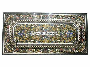 6'x3' Green Marble Decorative Marquetry Dining Table Pietradure Inlay Gems Decor