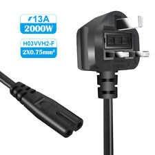 Power Cable Fig 8, C7 Mains Power Cord Lead UK Plug for Sony PS2 PS3 PS4 1.5m