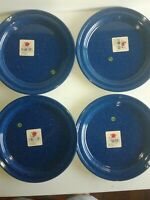 "4 New Cinsa Campware 10"" Dinner Plates Enamelware Blue Splatter Planto"