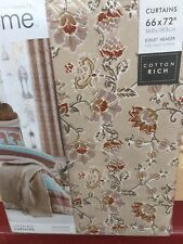 """Catherine Lansfield Fully Lined Eyelet Top Curtains 66""""x 72"""" In Beige And Brown"""