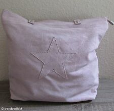 Kurt Kölln XXL Shopper Tasche aus Wildleder Leder mit Stern rosa altrosa