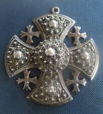 Vintage Unusual LARGE Sterling Silver JERUSALEM Cross Pendant c.1950/60s