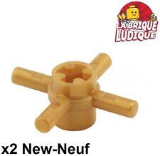 Lego technic - 2x Axle connector hub 4 bar barre or doré/pearl gold 48723 NEUF