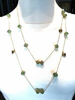GORGEOUS BETSEY JOHNSON GOLD-TONE HEART MURANO STYLE GREEN GLASS ROSE NECKLACE