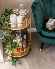 Gold Drinks Trolley With 2 Tiers 30's Art Deco Vintage Home Bar Cart