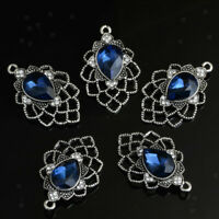 10pcs Blue Flower Crystal Charms Pendants for DIY Necklace Jewelry Making