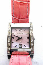Ladies Fossil Shell Faced Wrist Watch with Pink Leather Embossed Strap