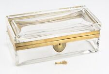 Vintage Thick Glass Jewelry Trinket Box Gilt Brass Hinges & Lock w/ Original Key