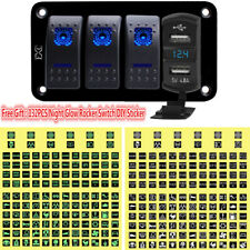 4 Gang Blue LED Rocker Switch Panel With 4.8A USB And DC12V/24V LED Voltmeter