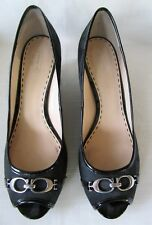 Coach  Precious Pump Size 11B Black Leather Peep Toe Wedge Heel Slip On Shoe
