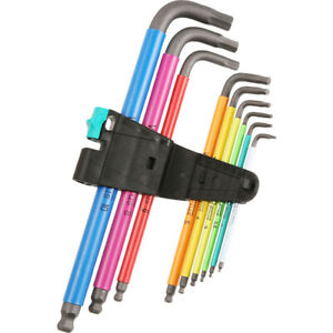 Wera Outils Neuf Sortie Coloré Hex Allen Clé Long 1.5mm>10mm En Support